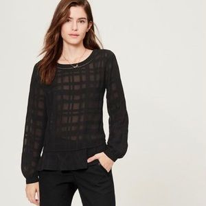 LOFT Sheer Black Monochrome Plaid Flutter Top